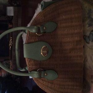 Straw leather handbag